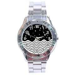 Black And White Waves And Stars Abstract Backdrop Clipart Stainless Steel Analogue Watch