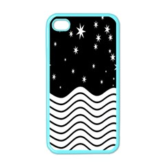 Black And White Waves And Stars Abstract Backdrop Clipart Apple Iphone 4 Case (color)