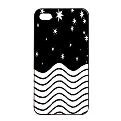 Black And White Waves And Stars Abstract Backdrop Clipart Apple Iphone 4/4s Seamless Case (black)