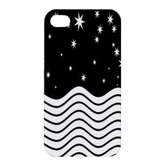 Black And White Waves And Stars Abstract Backdrop Clipart Apple iPhone 4/4S Hardshell Case