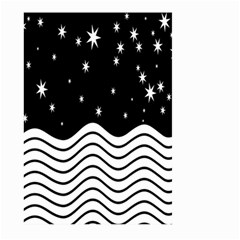 Black And White Waves And Stars Abstract Backdrop Clipart Large Garden Flag (two Sides)