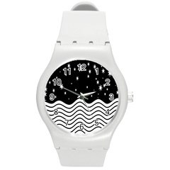 Black And White Waves And Stars Abstract Backdrop Clipart Round Plastic Sport Watch (m)