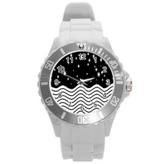 Black And White Waves And Stars Abstract Backdrop Clipart Round Plastic Sport Watch (l)