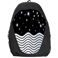 Black And White Waves And Stars Abstract Backdrop Clipart Backpack Bag