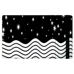 Black And White Waves And Stars Abstract Backdrop Clipart Apple Ipad 2 Flip Case