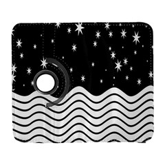 Black And White Waves And Stars Abstract Backdrop Clipart Galaxy S3 (flip/folio)