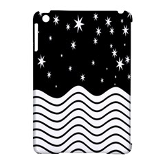 Black And White Waves And Stars Abstract Backdrop Clipart Apple Ipad Mini Hardshell Case (compatible With Smart Cover)