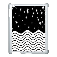 Black And White Waves And Stars Abstract Backdrop Clipart Apple Ipad 3/4 Case (white)
