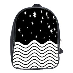 Black And White Waves And Stars Abstract Backdrop Clipart School Bags (XL)