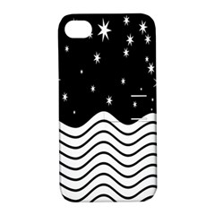 Black And White Waves And Stars Abstract Backdrop Clipart Apple Iphone 4/4s Hardshell Case With Stand