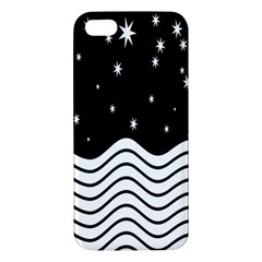 Black And White Waves And Stars Abstract Backdrop Clipart Apple Iphone 5 Premium Hardshell Case