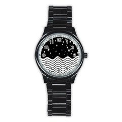Black And White Waves And Stars Abstract Backdrop Clipart Stainless Steel Round Watch