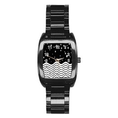 Black And White Waves And Stars Abstract Backdrop Clipart Stainless Steel Barrel Watch