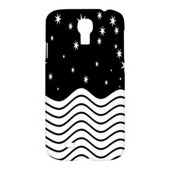 Black And White Waves And Stars Abstract Backdrop Clipart Samsung Galaxy S4 I9500/i9505 Hardshell Case