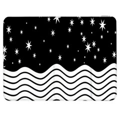 Black And White Waves And Stars Abstract Backdrop Clipart Samsung Galaxy Tab 7  P1000 Flip Case