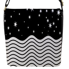 Black And White Waves And Stars Abstract Backdrop Clipart Flap Messenger Bag (s)