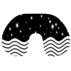 Black And White Waves And Stars Abstract Backdrop Clipart Travel Neck Pillows