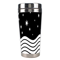 Black And White Waves And Stars Abstract Backdrop Clipart Stainless Steel Travel Tumblers