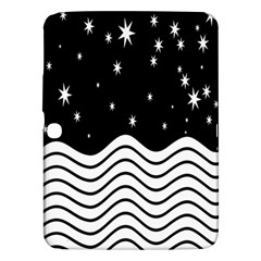 Black And White Waves And Stars Abstract Backdrop Clipart Samsung Galaxy Tab 3 (10.1 ) P5200 Hardshell Case