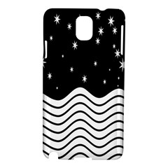 Black And White Waves And Stars Abstract Backdrop Clipart Samsung Galaxy Note 3 N9005 Hardshell Case