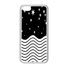 Black And White Waves And Stars Abstract Backdrop Clipart Apple Iphone 5c Seamless Case (white)