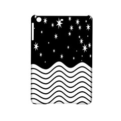 Black And White Waves And Stars Abstract Backdrop Clipart Ipad Mini 2 Hardshell Cases