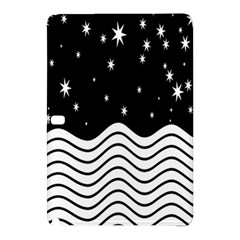 Black And White Waves And Stars Abstract Backdrop Clipart Samsung Galaxy Tab Pro 10 1 Hardshell Case