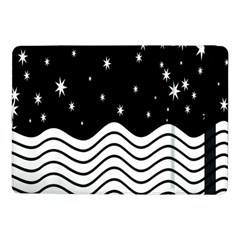 Black And White Waves And Stars Abstract Backdrop Clipart Samsung Galaxy Tab Pro 10 1  Flip Case