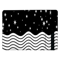 Black And White Waves And Stars Abstract Backdrop Clipart Samsung Galaxy Tab Pro 12 2  Flip Case