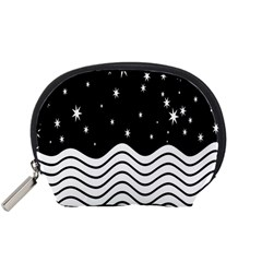 Black And White Waves And Stars Abstract Backdrop Clipart Accessory Pouches (Small)