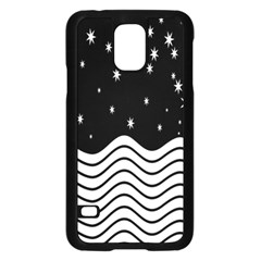 Black And White Waves And Stars Abstract Backdrop Clipart Samsung Galaxy S5 Case (Black)
