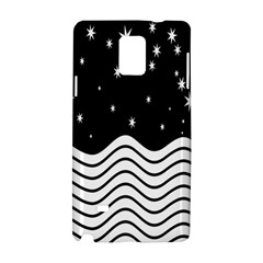 Black And White Waves And Stars Abstract Backdrop Clipart Samsung Galaxy Note 4 Hardshell Case