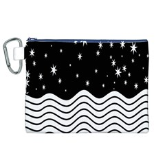 Black And White Waves And Stars Abstract Backdrop Clipart Canvas Cosmetic Bag (xl)
