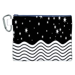 Black And White Waves And Stars Abstract Backdrop Clipart Canvas Cosmetic Bag (xxl)
