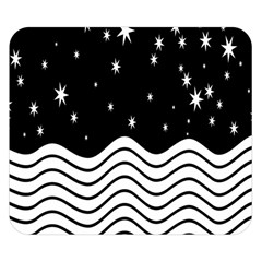 Black And White Waves And Stars Abstract Backdrop Clipart Double Sided Flano Blanket (small)