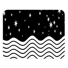 Black And White Waves And Stars Abstract Backdrop Clipart Double Sided Flano Blanket (large)