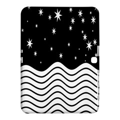 Black And White Waves And Stars Abstract Backdrop Clipart Samsung Galaxy Tab 4 (10 1 ) Hardshell Case