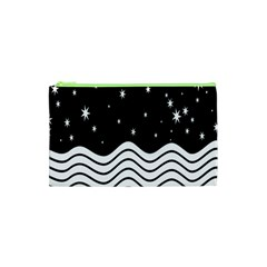 Black And White Waves And Stars Abstract Backdrop Clipart Cosmetic Bag (XS)