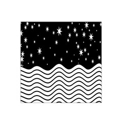 Black And White Waves And Stars Abstract Backdrop Clipart Satin Bandana Scarf