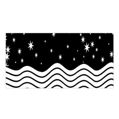 Black And White Waves And Stars Abstract Backdrop Clipart Satin Shawl