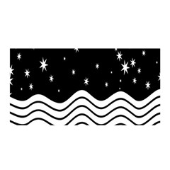 Black And White Waves And Stars Abstract Backdrop Clipart Satin Wrap