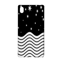 Black And White Waves And Stars Abstract Backdrop Clipart Sony Xperia Z3+