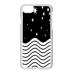 Black And White Waves And Stars Abstract Backdrop Clipart Apple Iphone 7 Seamless Case (white)