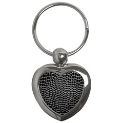 Black White Crocodile Background Key Chains (heart)