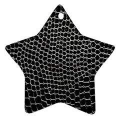 Black White Crocodile Background Star Ornament (two Sides)