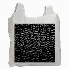 Black White Crocodile Background Recycle Bag (two Side)