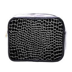 Black White Crocodile Background Mini Toiletries Bags