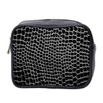 Black White Crocodile Background Mini Toiletries Bag 2-Side Front