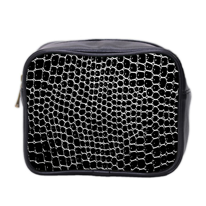 Black White Crocodile Background Mini Toiletries Bag 2-Side