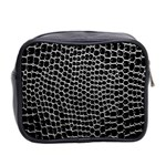 Black White Crocodile Background Mini Toiletries Bag 2-Side Back